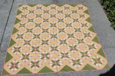 Antique Pennsylvania Cross Patchwork Calico Quilt 1800's
