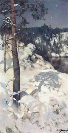 """""""Winter Sun Over Forest Hill"""" -  Eero Järnefelt (Finnish, 1863 - 1937)"""