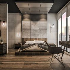 Concrete & wood bedroom design by Emanuel Viyantara