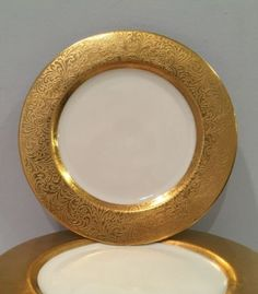 VTG-Lot-of-11-Hutschenreuther-LHS-Selb-Bavaria-6-1-2-034-Bread-Plates-Gilt-Gold