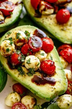 Basil Pesto Caprese Stuffed Avocado drizzled with balsamic glaze make an incredi. - Basil Pesto Caprese Stuffed Avocado drizzled with balsamic glaze make an incredible light lunch or - Keto Recipes, Vegetarian Recipes, Cooking Recipes, Healthy Recipes, Pescatarian Recipes, Vegetarian Lunch, Bariatric Recipes, Mexican Recipes, Grilling Recipes