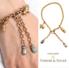 Unique and #beautiful in every way this #18karat #gold #antique fancy #link #bracelet with a #rosecut #diamond #whitegold & #turquoise and a natural grey #pearl #diamond edged slide closure and 2 #antique #gold #charms available at Turnerandtatler.com