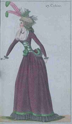 Journal de la Mode et du Gout, November 1790.  I love this! Green and purple are such a wonderful and unusual combination!