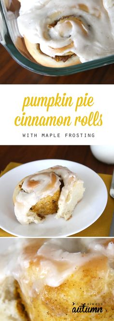 These pumpkin pie cinnamon rolls with maple cream cheese frosting are incredible! This easy recipe is the perfect fall or holiday dessert or breakfast. Best Pumpkin Pie, Pumpkin Recipes, Fall Recipes, Pumpkin Spice, Delicious Desserts, Dessert Recipes, Yummy Food, Bread Recipes, Pumpkin Cinnamon Rolls