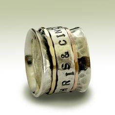 Wedding band - Sterling silver band with engraved silver spinner and two gold spinners - Let me love you