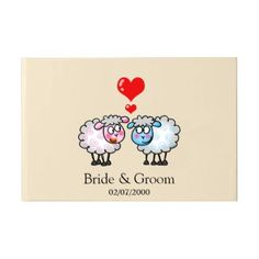 #pink - #cute wedding sheep couple guest book