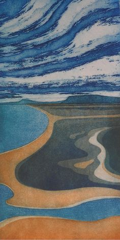 Laurie Rudling, etching - Above and Below. Gallery full of striking etchings and collagraphs