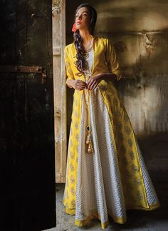 Buy White N Yellow Art Silk Jacket Style Anarkali Suit online from the wide collection of anarkali-suit. This White | Yellow colored anarkali-suit in Art Silk fabric goes well with any occasion. Shop online Designer anarkali-suit from cbazaar at the lowest price.