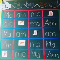 Silbenteppich für die Tafel....mit buntem Iso-Band...So kann ich die Silben beliebig oft ändern, ohne ständig eine neue Tabelle zeichnen zu müssen #grundschule #grundschullehrerin #pinguinklasse