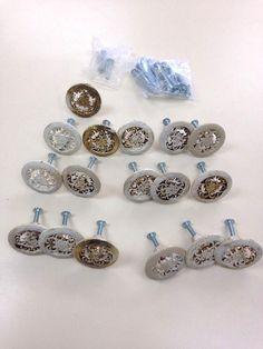 "Set Of 17 vintage AJAX USA 1.5"" ornate scroll knobs Drawer Cabinet Door Pulls #Ajax"