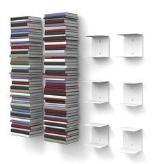 home3000 - 6 Mensole libreria, invisibili, colore: Bianco, con 12 scomparti, altezza:fino a 300 cm, per mettere i libri in pila, per libri con profondità fino a 22 cm: Amazon.it: Casa e cucina