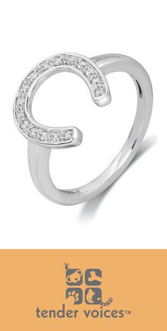 New! Tender Voices Silver Diamond Horseshoe Ring. A portion of the proceeds for this purchase goes to the #ASPCA. Thank you! #horses #petadoption #saveapet
