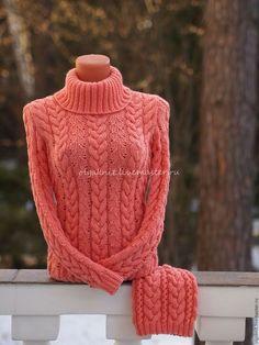Кофты и свитера ручной работы. Ярмарка Мастеров - ручная работа. Купить Коралловый свитер  из мериносовой шерсти. Handmade. Коралловый, свитер