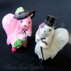 Extremely rare and unique set of anthropomorphic puppy dog salt and pepper shakers made by Miyao Py Japan. Very classy upper class pair of dogs, the girl in bright pink, boasting an umbrella and the most stylish hat. | eBay!
