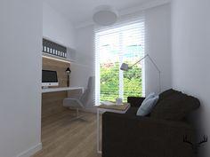 gabinet, biuro, biel, drewno, minimalizm Design
