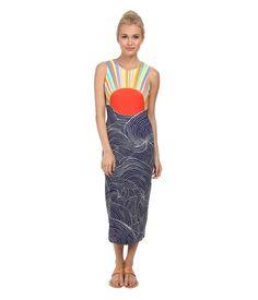 Mara Hoffman Midi Dress Misun MidCalf Sleeveless Round Neckline Women's Dress LG #MaraHoffman #MidCalfSleevelessRoundNeckline #Casual