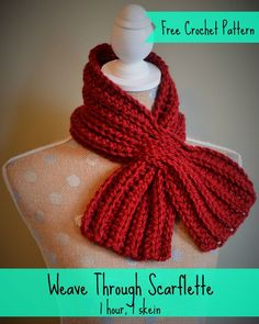 Free crochet pattern.  One hour, one skein scarflette.  Perfect DIY…
