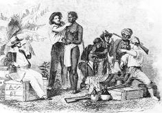Inspection and Sale of a Negro, engraving from the book Antislavery (1961) by Dwight Lowell Dumond. Library of Congress, Washington, D.C.  Slave codes were laws in each US state, which defined the status of slaves and the rights of masters. These codes gave slave-owners absolute power over the enslaved Africans.