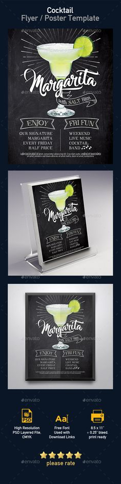 Margarita Cocktail Flyer Template — Photoshop PSD #ladies #cocktail • Available here → https://graphicriver.net/item/margarita-cocktail-flyer-template/19445833?ref=pxcr