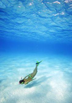 Woman free diving Photograph  - Woman free diving Fine Art Print