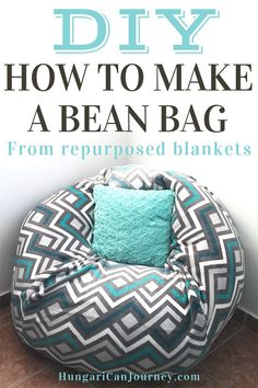 Make this all in one bean bag bed. How to make a bean bag chair out of old blankets laying around your house. You'll see how to draw a bean bag chair pattern and you can easily DIY this giant bean bag chair lounger for your kids and friends. Make A Bean Bag Chair, Big Bean Bag Chairs, How To Make A Bean Bag, Bean Bag Bed, Bean Chair, Bin Bag Chair, Bean Bag Pillow, Big Bean Bags, Giant Bean Bags