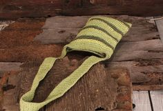 Crossbody bag - Woven shoulder bag - 90s long strap purse - Vintage knitted bag - Green yellow brown tracery bag - Summer bag - Gift for her