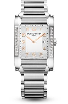The Hampton 10023 diamond watch for women, with steel strap and a rectangular shape, designed by Baume et Mercier.
