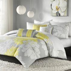 grey and lemon bedroom - Google Search