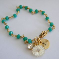 Faceted Jade Green Quartz Initial Bracelet by divinerose on Etsy, $30.00