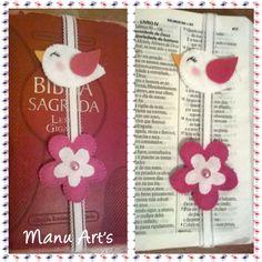 Marcador de páginas Passarinho e flor