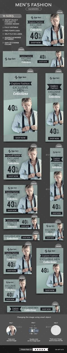 Buy Men Fashion Banners by Hyov on GraphicRiver. Promote your Products and services related to Men Fashion niche with this great looking Banner Set. Banner Design Inspiration, Web Inspiration, Sale Banner, Web Banner, Standing Banner Design, Ad Design, Graphic Design, Fashion Banner, Instagram Blog