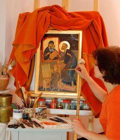 "Romanian ___ by Elena Murariu "" Modern art of icons Russian Icons, Art Base, Orthodox Icons, Style Icons, Modern Art, Illustration, Sewing Studio, Grandparents, Romania"