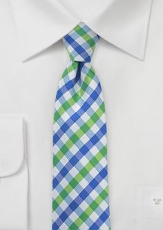 Skinny Gingham Plaid Tie in Lime Green and Bright Blue - $18.90