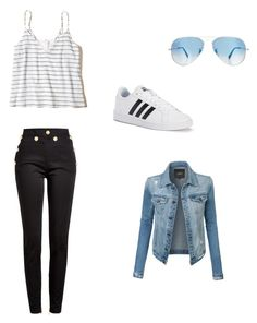 """""""#43"""" by mrshemmings-di ❤ liked on Polyvore featuring Balmain, adidas, Hollister Co., Ray-Ban and LE3NO"""