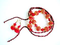 Red beaded necklace with golden bead caps indian style by seragun, $12.00