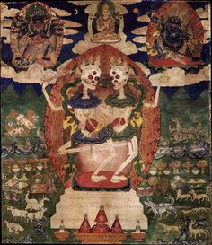 Citipati, the Glorious Lords of the Charnel Ground - Tibet, circa 1800-99. At the top center is Lord Tsongkapa, at the left is Chakrasamvara embracing the consort Vajrayogini, and at the right is the bodhisattva Vajrapani.