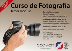 Curso de fotografía - Tercer módulo Avanzado  Durante los meses de enero y febrero  Total de 30 horas. Abierto a todas las personas con conocimientos previos de fotografía.  Miercoles y viernes a las 18 hs.  Inicio: Miercoles 10 de enero de 2018.  Impartido por Lcdo. Michel A. Montero. Director creativo / Fotografo. Coco. Coco, Photography Courses, Move Forward, January, Friday, Activities