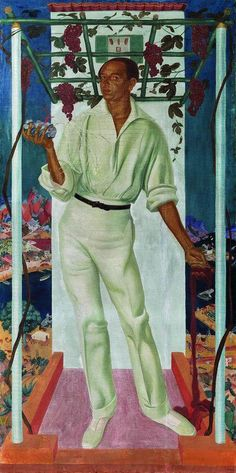 Portrait of Mexican Painter Roberto Montenegro , 1915 by Alexander Evgenievich Yakovlev (1887-1938)....Roberto Montenegro Nervo  (1887-1968) was a Mexican painter, muralist and illustrator, who was one of the first to be involved in the Mexican muralism movement after the Mexican Revolution...all in white...interesting background detail.