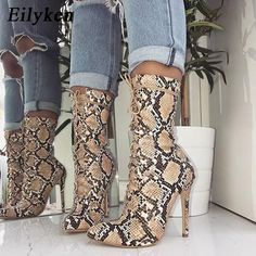 Women Lace-Up Boots Snake Print Ankle Boots High Heels Fashion Pointed Toe Ladies Sexy Shoes 2019 Chelsea Boots 💥 Women's Lace Up Boots, Lace Up Heels, Dress Boots, Sexy Heels, High Heel Boots, Heeled Boots, Ankle Boots, High Heel Sneakers, Snake Print Boots