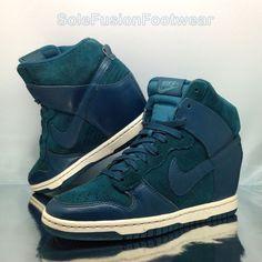 Nike Womens Sky Hi Trainers Green sz 5 Wedge Heel DUNK Sneakers US 7.5 EU 38.5  | eBay