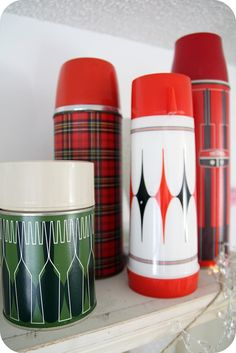 christmas cheer thermos  vintage collection of thermos'  blogged: www.cococricketsmama.typepad.com