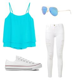 """""""For those sunny days☀️"""" by courtneycrabtree ❤ liked on Polyvore featuring Frame Denim, MANGO, Converse and Ray-Ban"""