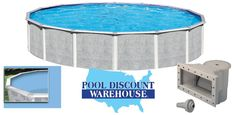 21' Round Tango Above Ground Pool with Liner and Dlx. Widemouth Skimmer