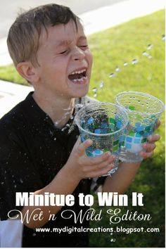 PRINTABLE Minute To Win It Game -  Wet n Wild Edition! Great game for Summer Picnic, BBQ, Family Reunions or just wet family fun.  Great way to cool off in the Summer heat!