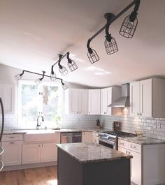 Industrial Track Lighting Kitchen 16 Ideas For 2019 Industrial Track Lighting, Track Lighting Fixtures, Rustic Industrial, Rustic Lighting, Farmhouse Lighting, Kitchen Lighting, Home Renovation, Home Remodeling, Slanted Ceiling