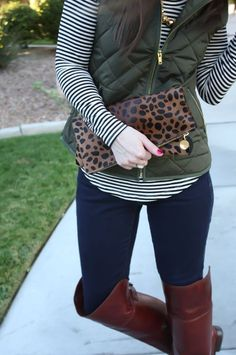Love EVERYTHING about this outfit: Army Green Quilted Vest, Striped Tee, Dark Wash Skinny Jeans, Over the Knee Boots, Leopard Fold Over Clutch, Old Navy, Banana Republic, Frye Boots.