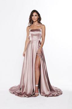 A&N luxe bianca satin gown - mauve în 2019 special dresses ш Silk Satin Dress, Silky Dress, Satin Dresses, Ball Dresses, Elegant Dresses, Pretty Dresses, Evening Dresses, Formal Dresses, Satin Gown Prom