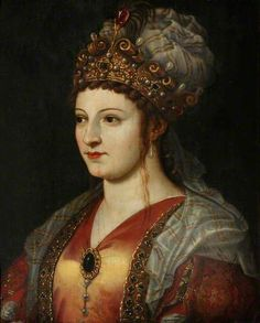 Caterina Cornaro (d.1510), Queen of Cyprus by Titian(follower of) Oil on panel, 55.5 x 42.5 cm Collection: National Trust