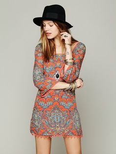 Free People Printed Square Neck Mini Dress at Free People Clothing Boutique 2013