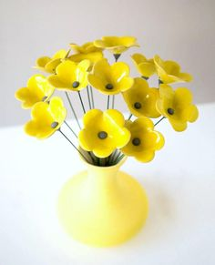 Unique Flower and Vase Set Bouquet of 15 Sunny by SigalitBreuer